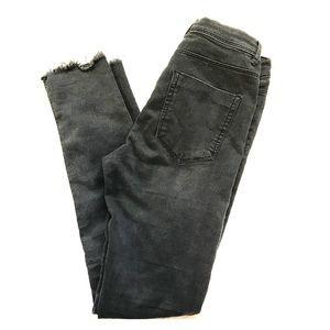 Zara black skinny jeans- rough hem style